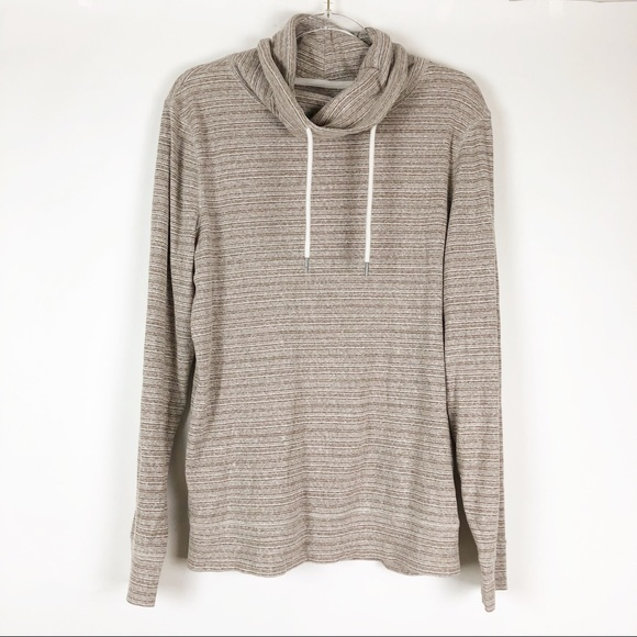 Express Tops - Express   L   Brown Long Sleeve Funnel Neck Top